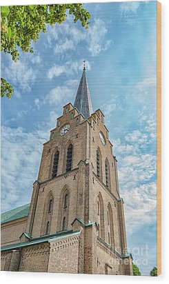 Wood Print featuring the photograph Halmstad Church In Sweden by Antony McAulay