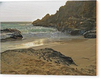 Halona Beach Cove Wood Print by Michael Peychich