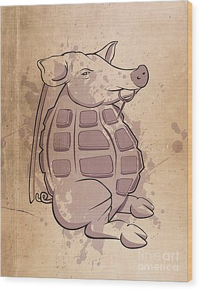 Ham-grenade Wood Print by Joe Dragt
