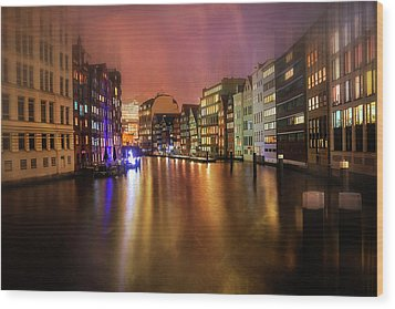Wood Print featuring the photograph Hamburg By Night  by Carol Japp