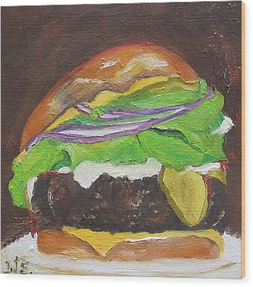 Hamburger Heaven Wood Print by Irit Bourla