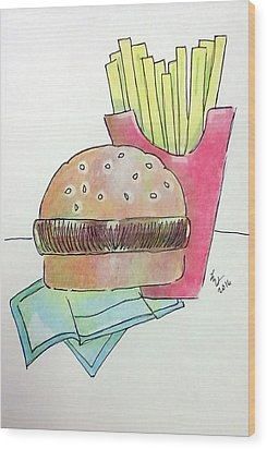Hamburger With Fries Wood Print by Loretta Nash
