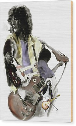 Hammer Of The Gods   Jimmy Page Wood Print by Iconic Images Art Gallery David Pucciarelli