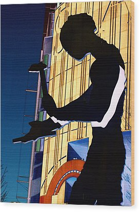 Hammering Man Wood Print by Tim Allen