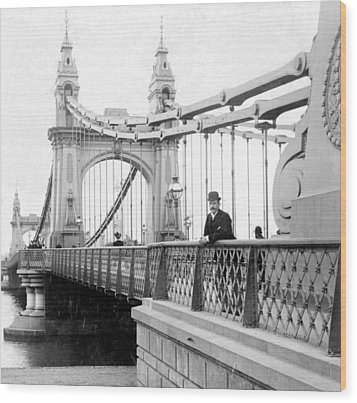 Hammersmith Bridge In London - England - C 1896 Wood Print by International  Images