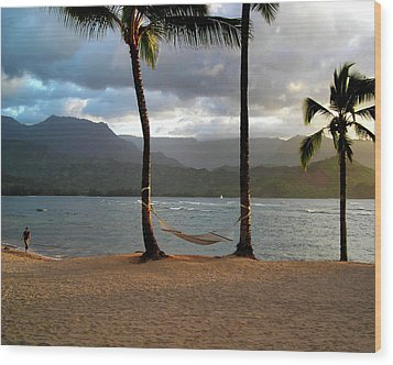 Hammock At Hanalei Bay Wood Print