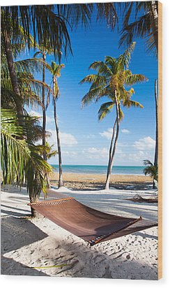 Hammock In Paradise Wood Print by Adam Pender