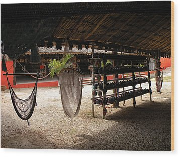 Wood Print featuring the photograph Hammocks At A Reststop by Dianne Levy