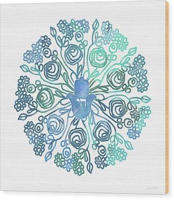 Wood Print featuring the mixed media Hamsa Mandala 1- Art By Linda Woods by Linda Woods