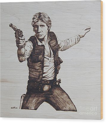 Han Solo Wood Print by Chris Wulff