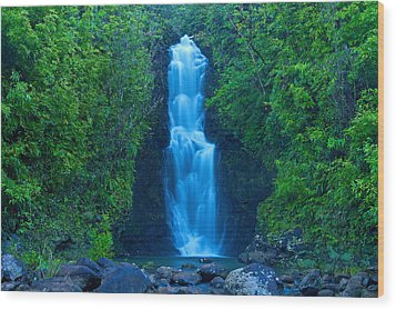 Hana Waterfall Wood Print