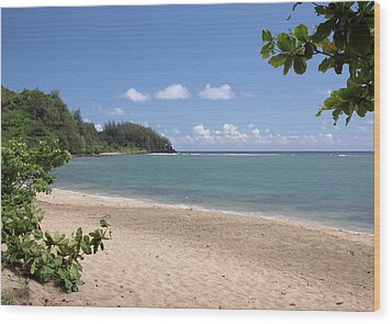 Wood Print featuring the photograph Hanalei Bay Beach by Rau Imaging