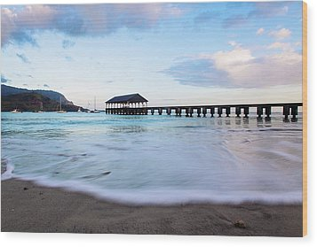 Wood Print featuring the photograph Hanalei Bay Pier At Sunrise by Melanie Alexandra Price