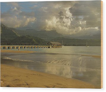 Hanalei Bay Reflections Wood Print