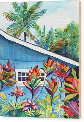 Hanalei Cottage Wood Print by Marionette Taboniar
