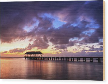 Hanalei Pier Wood Print by James Eddy