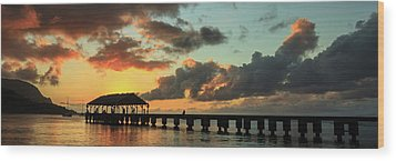 Hanalei Pier Sunset Panorama Wood Print