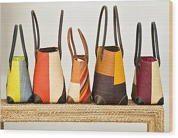 Hand Bags Capri Italy Wood Print by Xavier Cardell