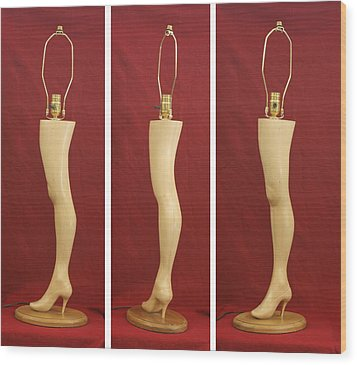 Hand Carved Wood Leg Lamp Wood Print by Mike Burton