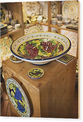 Hand Painted Dishes Wood Print by Marilyn Hunt