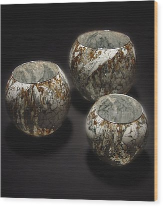 Hand Painted Glass Set Of Three Brown White Wood Print