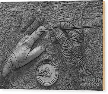 Hand Painting Wood Print by Trena Mara