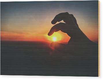 Hand Silhouette Around Sun - Sunset At Lapham Peak - Wisconsin Wood Print by Jennifer Rondinelli Reilly - Fine Art Photography