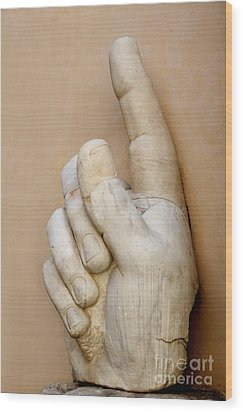 Hand With Pointing Index Finger. Statue Of Constantine. Palazzo Dei Conservatori. Capitoline Museums Wood Print by Bernard Jaubert
