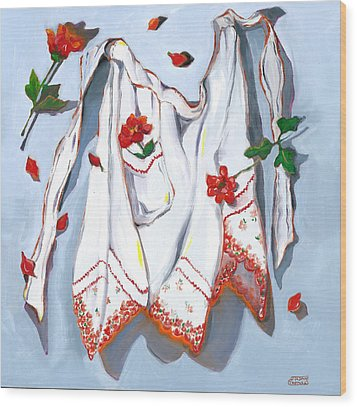 Wood Print featuring the painting Handkerchief Apron by Susan Thomas