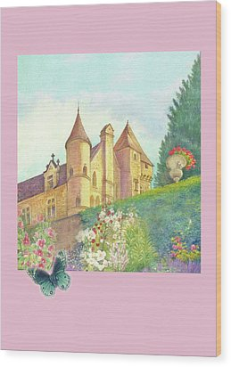 Handpainted Romantic Chateau Summer Garden Wood Print by Judith Cheng