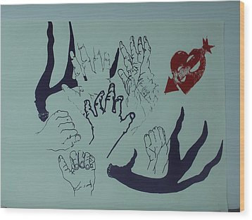 Wood Print featuring the mixed media Hands And Horns by Erika Chamberlin