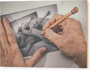 Hands Drawing Hands Wood Print