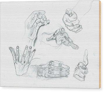 Hands Wood Print by Joseph  Arico