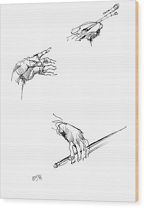 Hands Of A Violin Player Wood Print