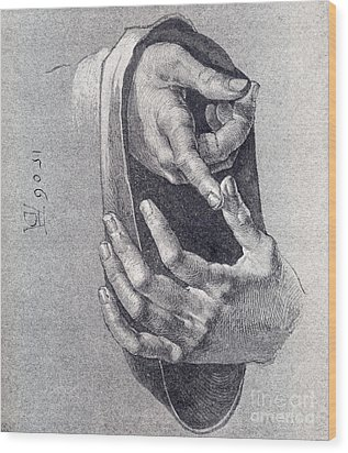Hands  Study Wood Print by Pg Reproductions