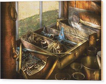 Handyman - Junk On A Bench Wood Print by Mike Savad