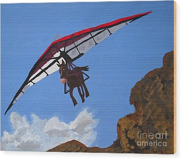 Hang Gliding Donkey Wood Print by Kerri Ertman