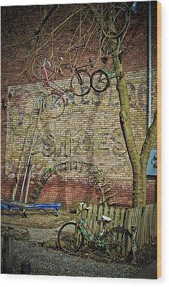 Hanging Bikes Wood Print