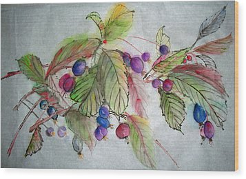 Wood Print featuring the painting Hanging Crabapples by Debbi Saccomanno Chan