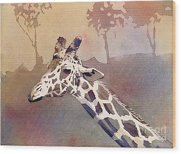 Wood Print featuring the painting Hanging Out- Giraffe by Ryan Fox