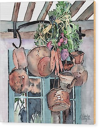 Hanging Pots And Pans Wood Print by Arline Wagner