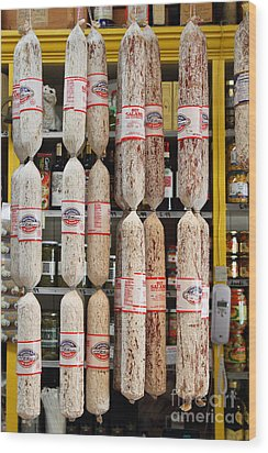 Hanging Salami Wood Print by Wingsdomain Art and Photography