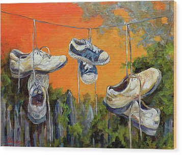 Hanging Tennis Shoes Wood Print by Jean Groberg