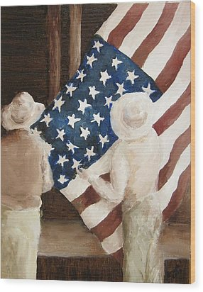 Hanging The Flag - 1 Wood Print by Frieda Bruck