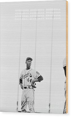 Hank Aaron On The Field, 1958 Wood Print by The Harrington Collection