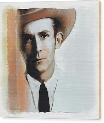 Hank Williams Faiths Fire Wood Print by Iconic Images Art Gallery David Pucciarelli