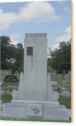 Hank Williams Sr. Headstone Wood Print by Carolyn Postelwait
