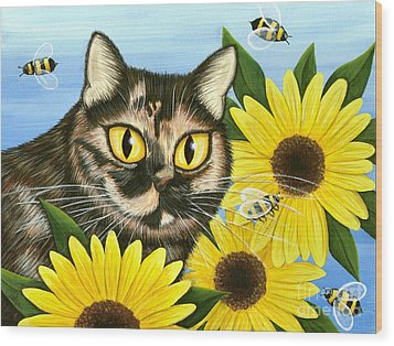 Hannah Tortoiseshell Cat Sunflowers Wood Print by Carrie Hawks