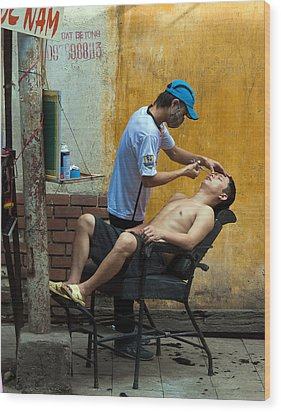 Hanoi Barber Wood Print