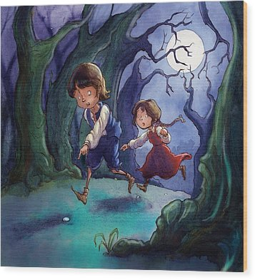 Hansel And Gretel Pebbles Wood Print by Andy Catling